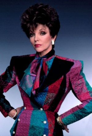 TV show fashion history - Dynasty - Joan in patterned suit.jpg