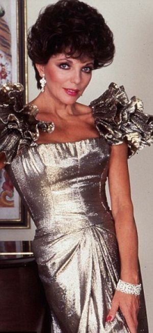 TV show fashion history - Dynasty - Joan in silver dress.jpg