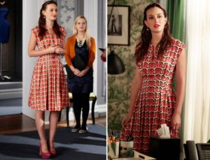 TV show fashion history - Gossip Girl - Blair in red orange dress.jpg