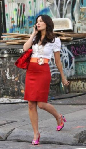 TV show fashion history - Lipstick Jungle - red skirt.jpg