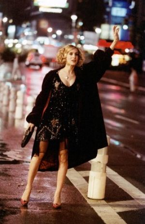 TV show fashion history - Sex and the City - Carrie hailing a cab.jpg