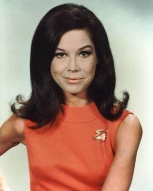 TV show fashion history - The Mary Tyler Moore Show hair and coral frock.jpg