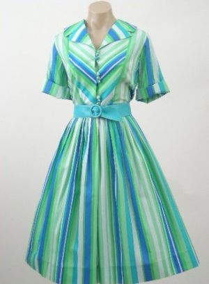 60s Mad Men Style Striped Shirtwaist Dress from bluevelvetvintage.com.jpg