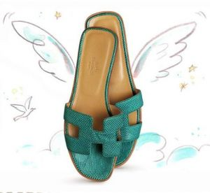 Green clothes shoes accessories - myLusciousLife.com - Hermes Oran sandal in blue lizard.JPG