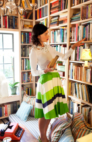 Green colour inspiration - myLusciousLife.com - Kate Spade model in library with green skirt.png