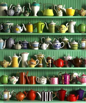 Green colour inspiration - myLusciousLife.com - green shelves and tea pots.jpg