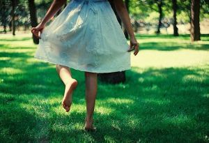 Green dresses - girl dancing on green lawn.jpg