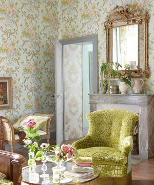 Green home decorating - myLusciousLife.com - Designers Guild green chair.jpg