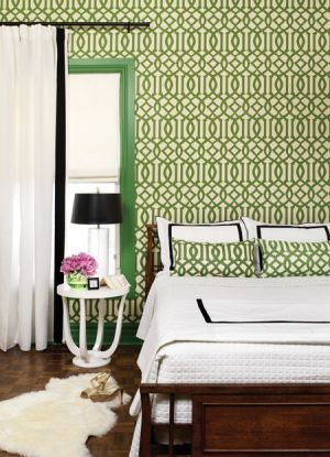 Green home decorating - myLusciousLife.com - Kelly Green Wallpapered Bedroom.jpg