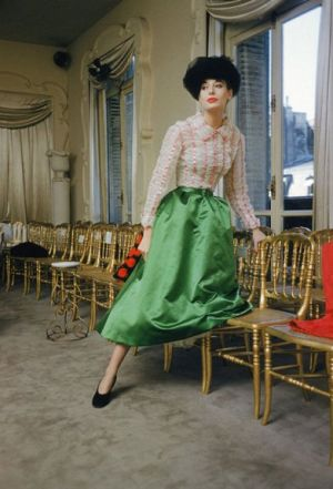 Vintage green fashion - Mark Shaw - Salon of Balenciaga - approx 1950.jpg
