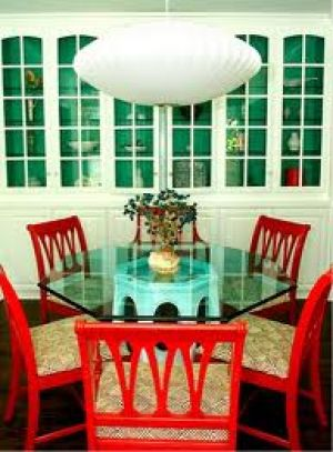 modern chinoiserie decor dining table and chairs.jpg