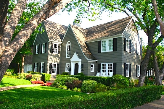 Stylish home black and white house exteriors - White house green trim ...