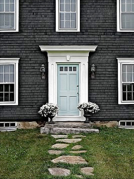 Stylish home black and white house exteriors - White house with grey trim ...