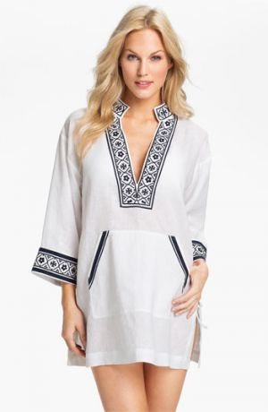 Buy Tory Burch online - Tory Burch Linen Tunic Cover-Up White Navy Small.jpg