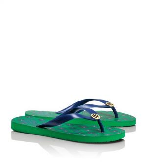 shop for shoes - Tory Burch shoes - printed FLIP FLOP - emerald green monaco blue.jpg