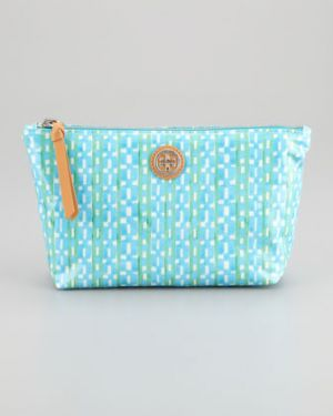 tory burch bags online sale - Tory Burch Dragonfly Check-Print Cosmetic Case - turquoise.jpg