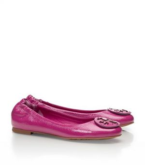 tory burch flats - Tory Burch shoes - tumbled LEATHER REVA BALLET FLAT fuschia.jpg