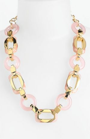 tory burch llc - Tory Burch Lucas Link Necklace Pink and Gold.jpg