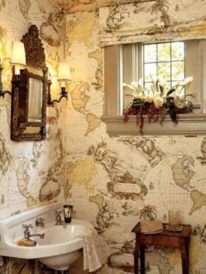 Inspired by the British Empire - decor - Map wall in bathroom.jpg