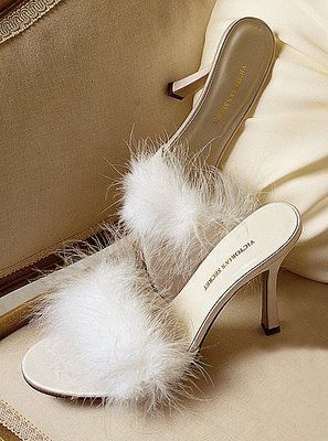 Boudoir inspired feathered satin slippers at victoriassecretcom.jpg