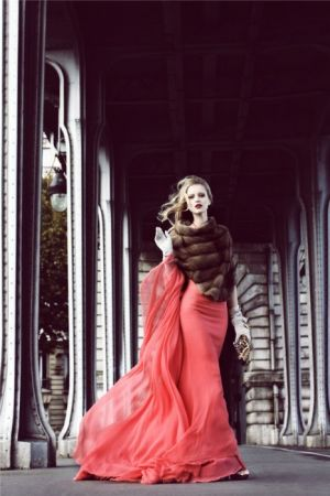 Red images - Coral pink evening dress with fur stole.jpg