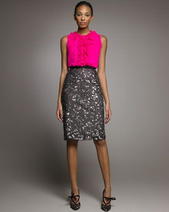 Oscar de la Renta Beaded Pencil Skirt.jpg