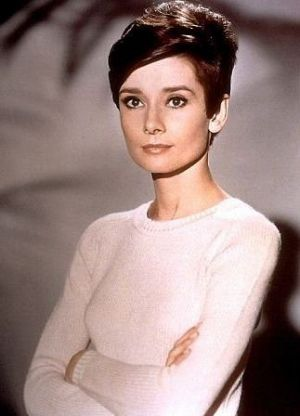 Audrey Hepburn - white sweater jumper - cropped hair.JPG