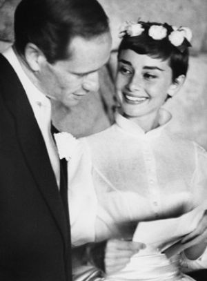 Audrey Hepburn and Mel Ferrer - wedding day 1954.jpg