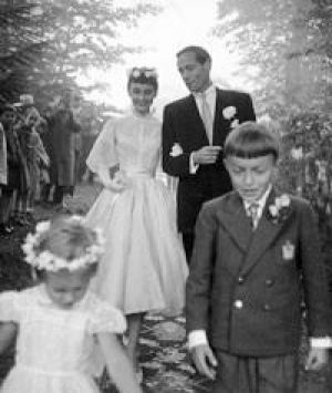 Audrey Hepburn and Mel Ferrer - wedding day dress.jpg