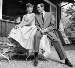 Audrey Hepburn and Mel Ferrer outside a chalet on the Buergenstock mountain near Lucerne Switzerland.JPG