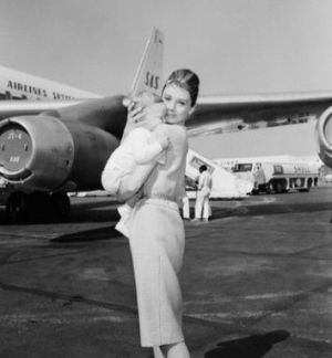 Audrey Hepburn and son Sean 7 months leave for Rome.JPG