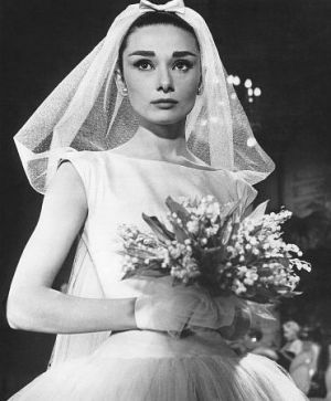 Audrey Hepburn costumes - Audrey Hepburn in Funny Face wedding gown.jpg
