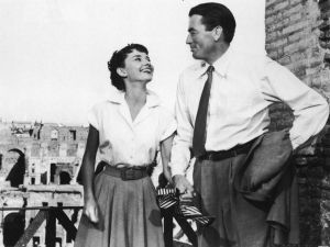 Audrey Hepburn laughing with Gregory Peck in Rome on the set of Roman Holiday - mylusciouslife.com.jpg