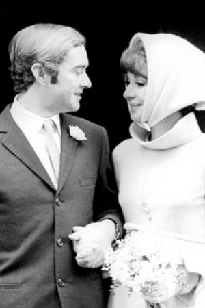 Audrey Hepburn wearing headscarf at her second wedding.jpg