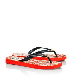 Tory Burch shoes - printed FLIP FLOP black and orange dots.jpg