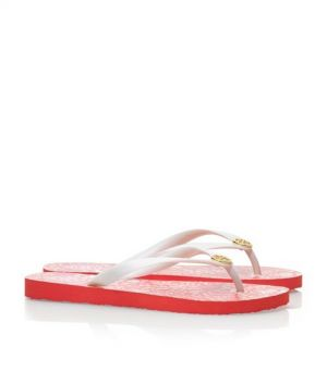 Tory Burch shoes - printed FLIP FLOP salmon pink and white.jpg