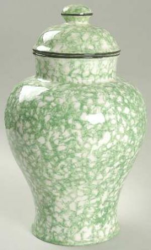 Stangl Town Country Green Large Ginger Jar With Lid Jpg