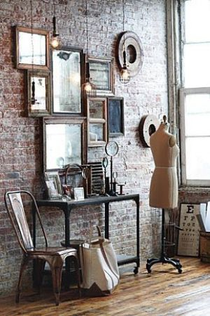 Anthropologie Collection Mirrors Redsmith Tolix Chair Brick Wall